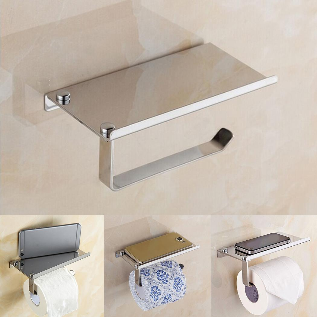 Stainless Steel Wall Mount Bathroom Toilet Paper Rack With Phone Holder Silver