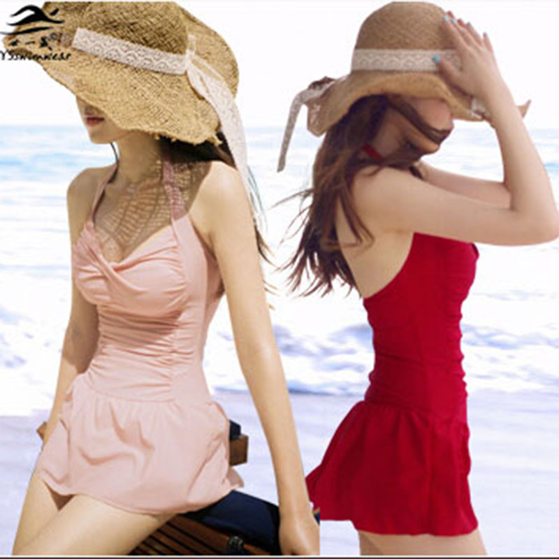 Summer Women Swimsuit One-piece Swimwear 3 Solid Colors Halter One piece swimsuits Bathing Suits Summer maillot de bain