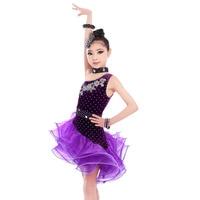 Latin Dance Dress Children S Girls Performance Clothes Latin Dance Clothing Adult Dance Velvet Skirt Contest