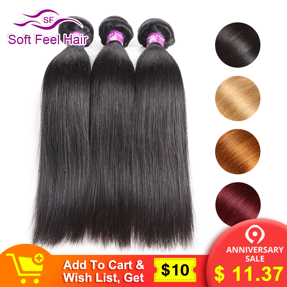 Mjukt Feel Hair Remy Hair 1/3/4 Bundles Deals Brasilian Straight Hair Weave Bundles Mänskliga Hårförlängningar Burgundy Blonde Bundles