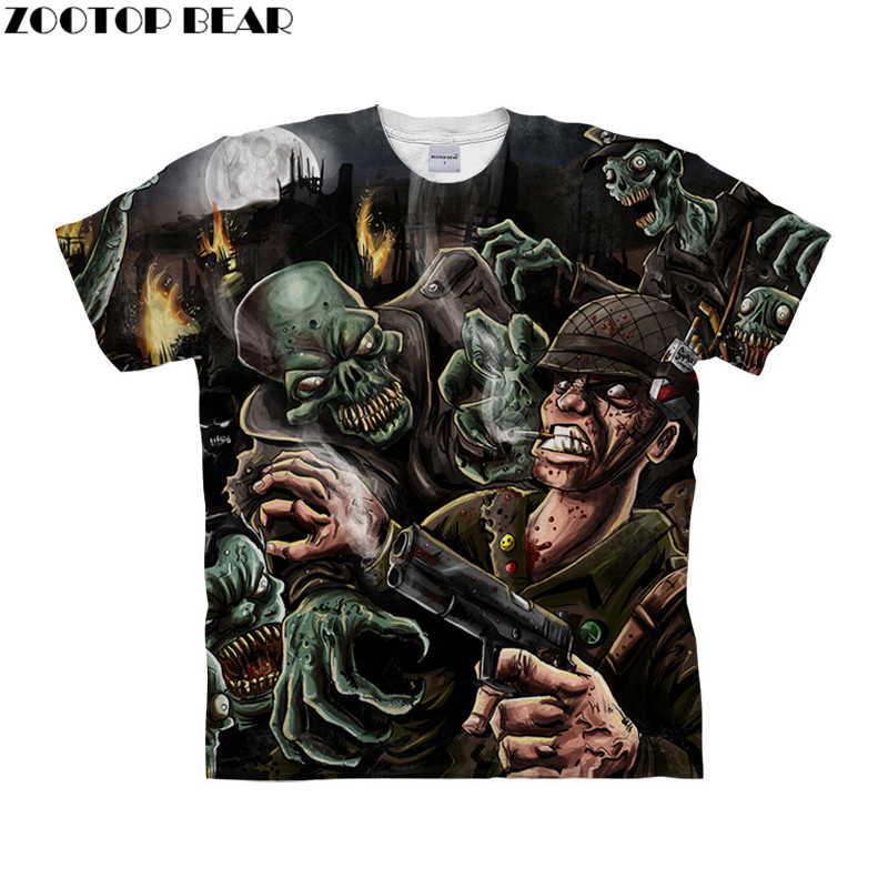 Skull tshirt 3d t shirt Men t-shirt Funny Tops Tee Short Sleeve Camiseta Streetwear Clothing Round Neck Drop Ship ZOOTOP BEAR