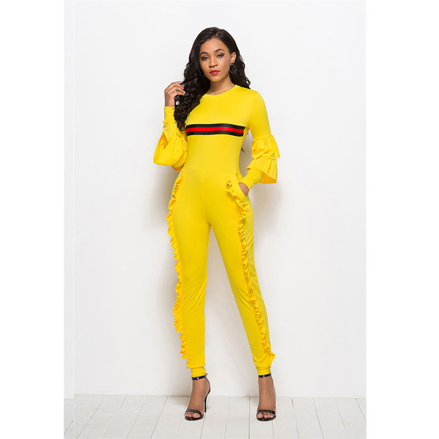 Autumn Long Sleeve Lacework Jumpsuit Women Elegant Long Pants Streetwear Plus Size Bodycon Rompers Overalls One Piece Body Tulum
