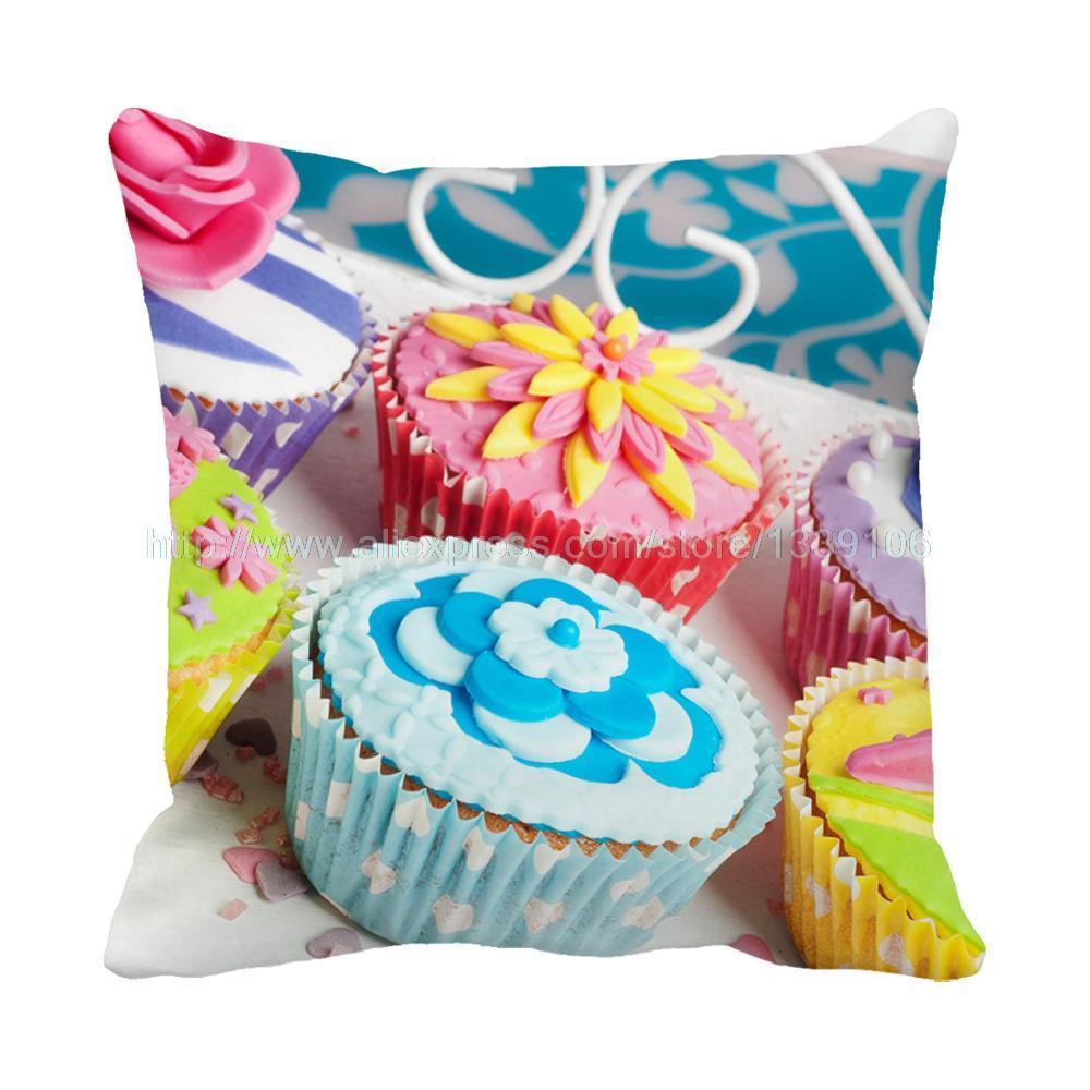 Cojines Sofa Chocolate.Euro Style Sweet Colorful Chocolate Cupcakes Print Custom