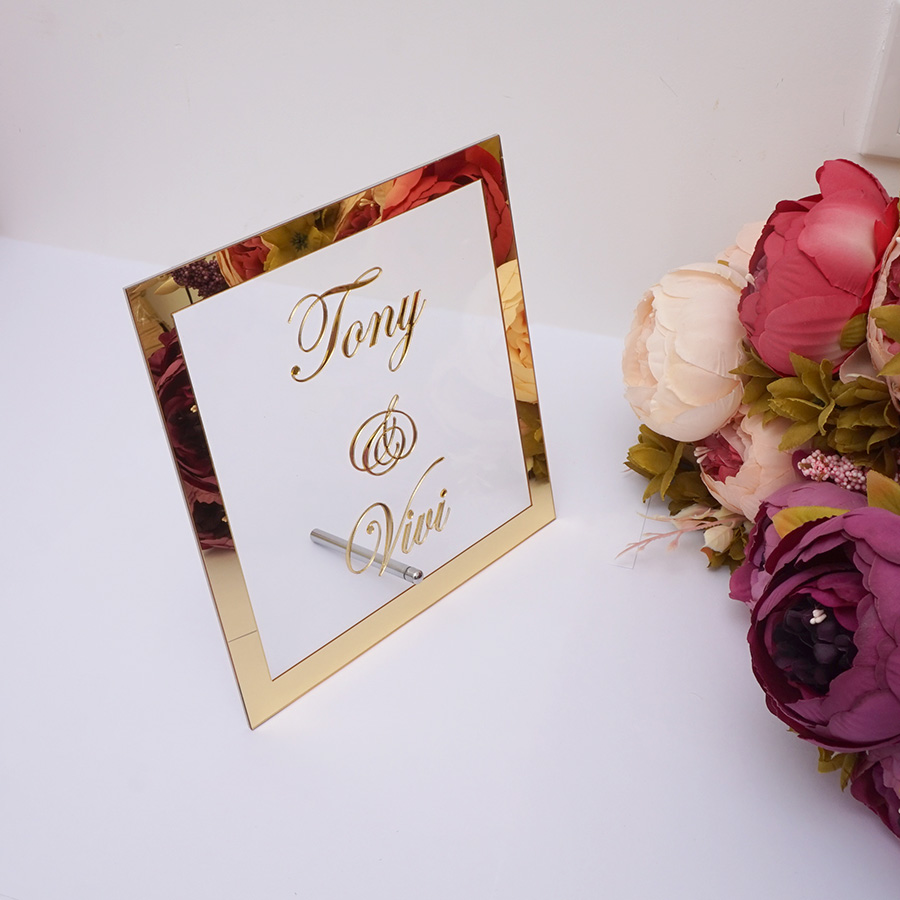 Custom Wedding Bride Name Mirror Frame Acrylic Mirrored