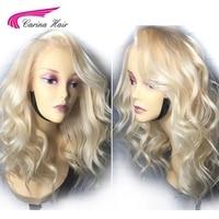 Карина бразильский свободная волна чисто 613 блондинка Синтетические волосы на кружеве парики с волосами младенца 150% плотность человечески