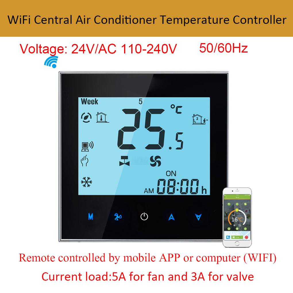 WiFi Smart Control Central Air Conditioner Temperature Controller 2 Pipe Programmable Thermostat LCD Touchscreen touchscreen programmable wifi thermostat for four pipe fan coil unit controlled by android ios smart phone in home or abroad