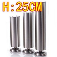 2pcs Freeshipping 25CM Stainless Steel Cabinet Coffee KTV Table Furniture Foot Legs Diameter 50mm Adjustable H