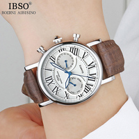 IBSO Women Watches 2018 Top Brand Luxury Quartz Watch Women Fashion Brown Leather Strap Relogio Feminino Ladies Watches #6819