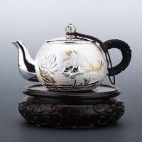 Pure Silver Teapot 999 Handmade Household Kungfu Tea Set Lotus Gold Plated|Teapots| |  -