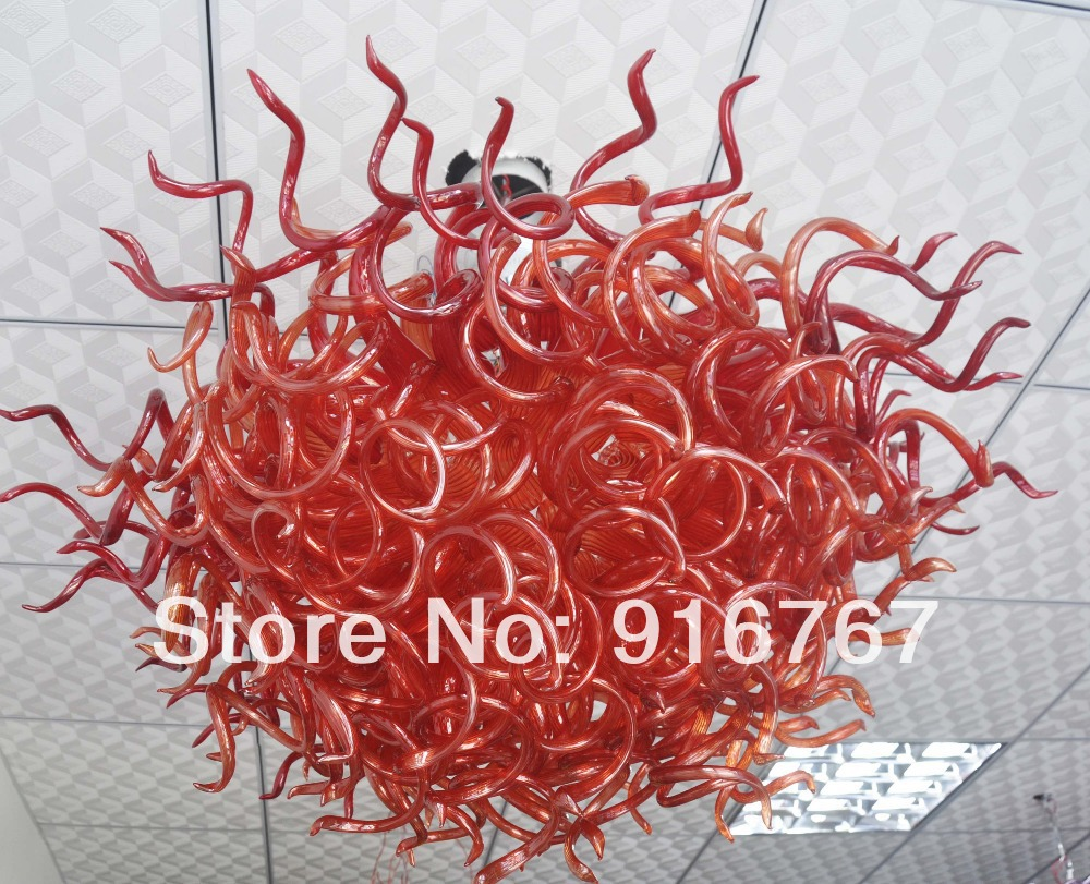C91-Free Shipping Big Red Blown Glass Chandelier LightC91-Free Shipping Big Red Blown Glass Chandelier Light