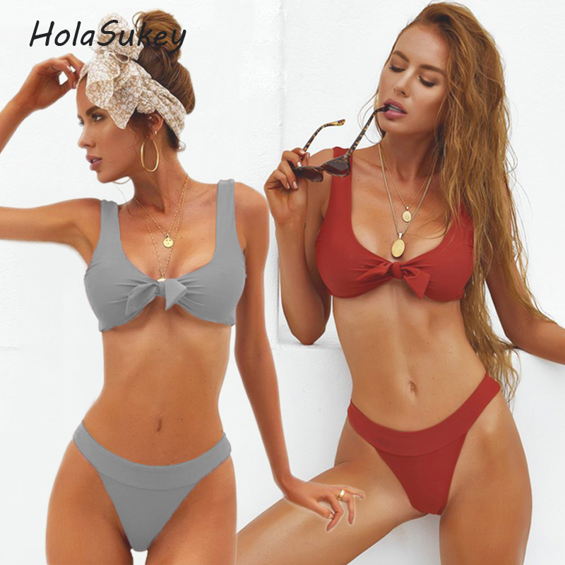 HolaSukey 2018 New Bikini Set Retro Micro Bikinis 2018 New Women Swimwear Sexy Bandage Swimsuits Brazilian Summer Bathing Suits