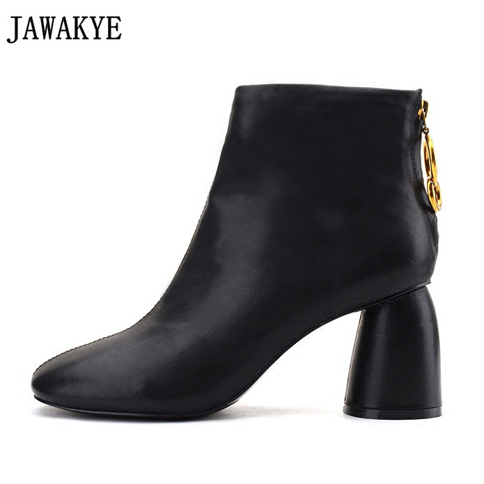 JAWAKYE Winter black brown high real leather ankle boots for women gold metal ring decor chunky high heels casual boots women autumn winter black white high heels knight boots real leather shoes british retro metal decor pointy toe ankle boots for women