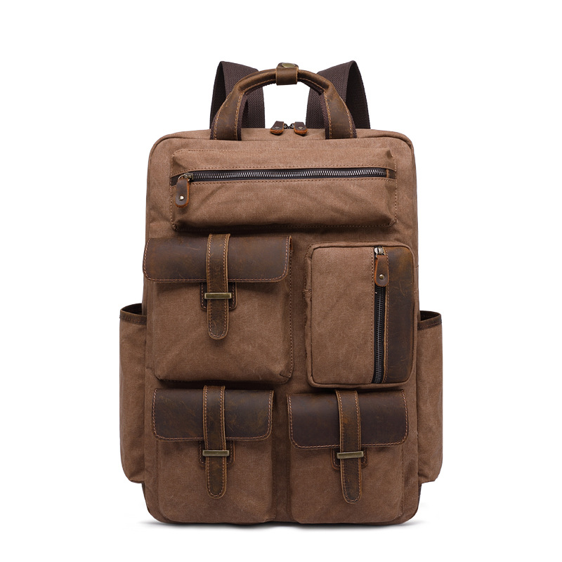 MCO 2019 Europe Luxury Canvas Leather Travel Backpack Mens Waterproof Duffle Bags Large Capacity Canvas Luggages Rucksacks BigMCO 2019 Europe Luxury Canvas Leather Travel Backpack Mens Waterproof Duffle Bags Large Capacity Canvas Luggages Rucksacks Big