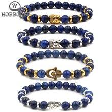 HOBBORN Trendy Natural Stone Men Bracelet High Quality Lapis Lazuli Beads Hand of Fatima Owl Strand Charm Women Bracelets Bijoux