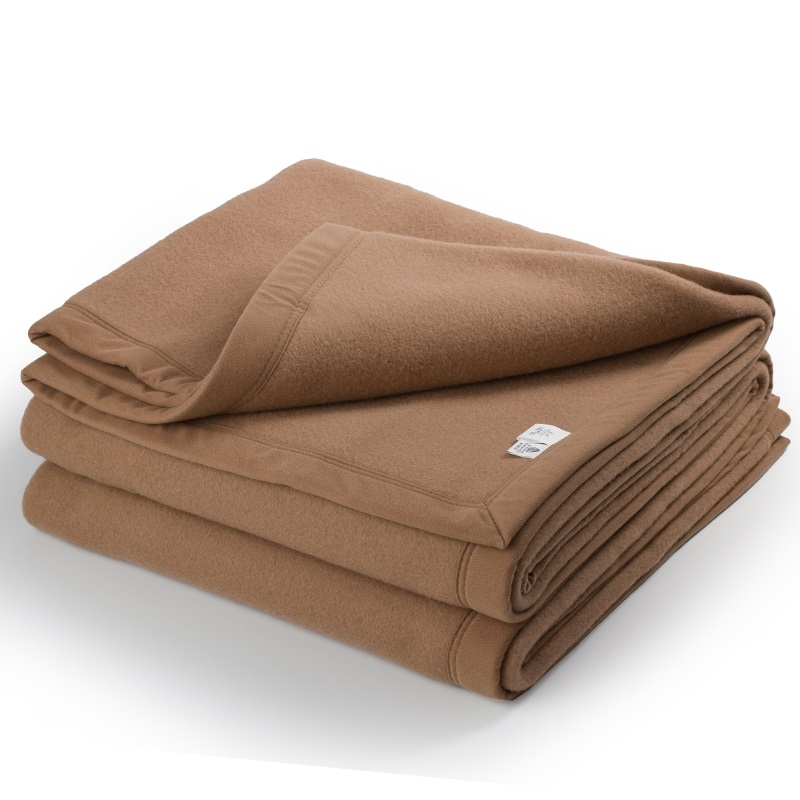 New Zealand Wool Blankets Covered Australian Wool Bed Throw Blanket Winter Thick Warmth Camel 200cmx240cm