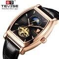 TEVISE Мужские механические наручные часы Прямоугольник Скелет Мужские часы Авто Дата Натуральная кожа наручные часы человек Луна фазы Relojes