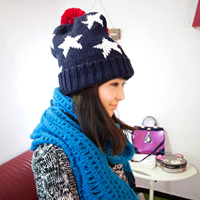 Hot Fashion US Flag Knit Beanie Crochet Rib Pom Pom Hat Cap Blue & Red Men and Women