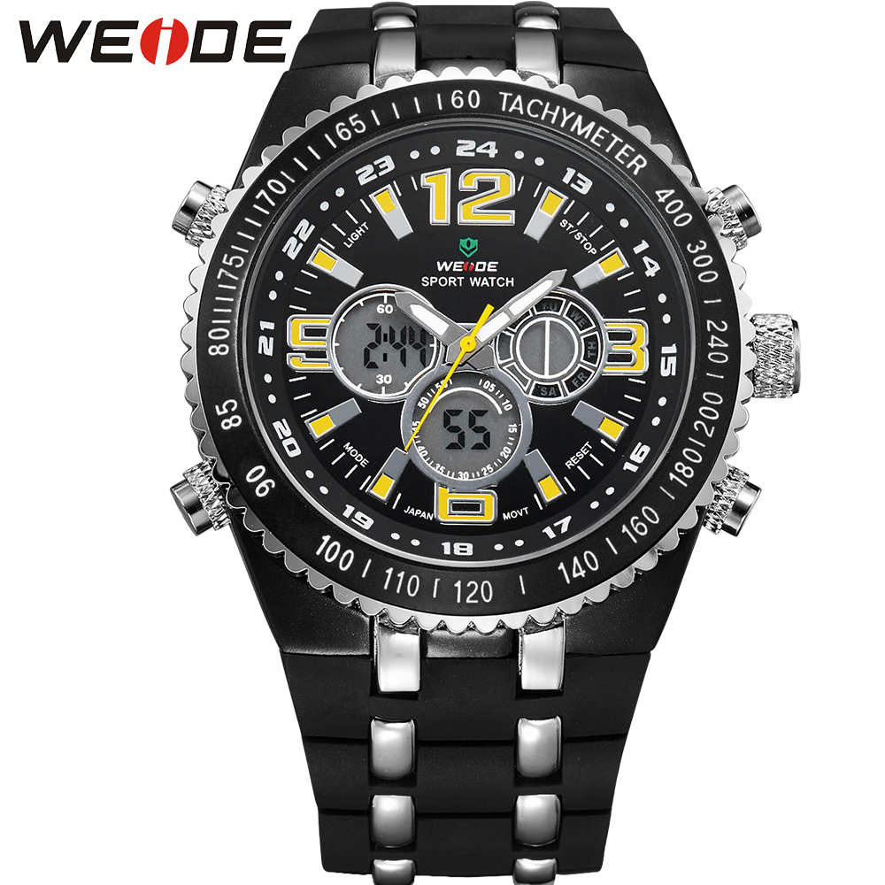 ФОТО WEDIE Original Brand LCD Sport Watches For Men White Dial Analog Digital Display Round Case With PU Band Relogio Masculino