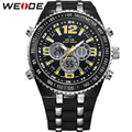 WEDIE Original Brand LCD Sport Watches For Men White Dial Analog Digital Display Round Case With PU Band Relogio Masculino
