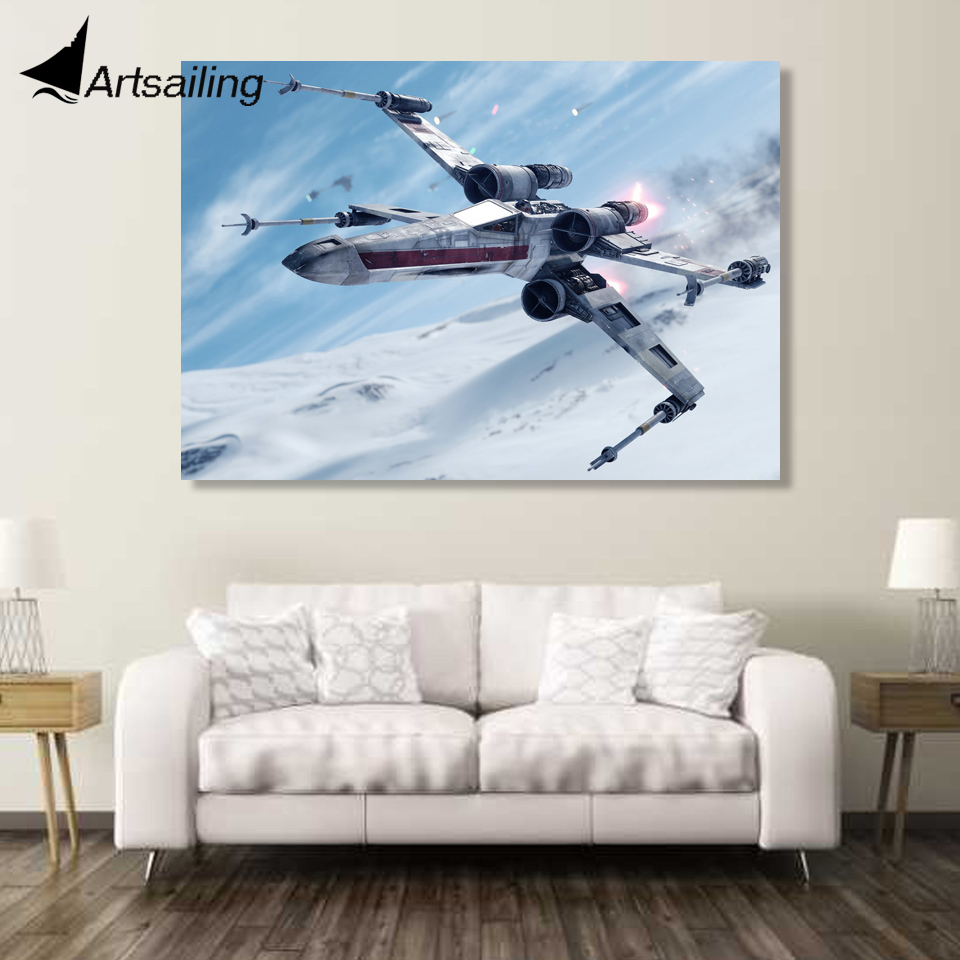 1 Piece Canvas Art Canvas Painting Star Wars Fighter HD Printed Wall Art Home Decor Poster Pictures for Living Room XA1497C