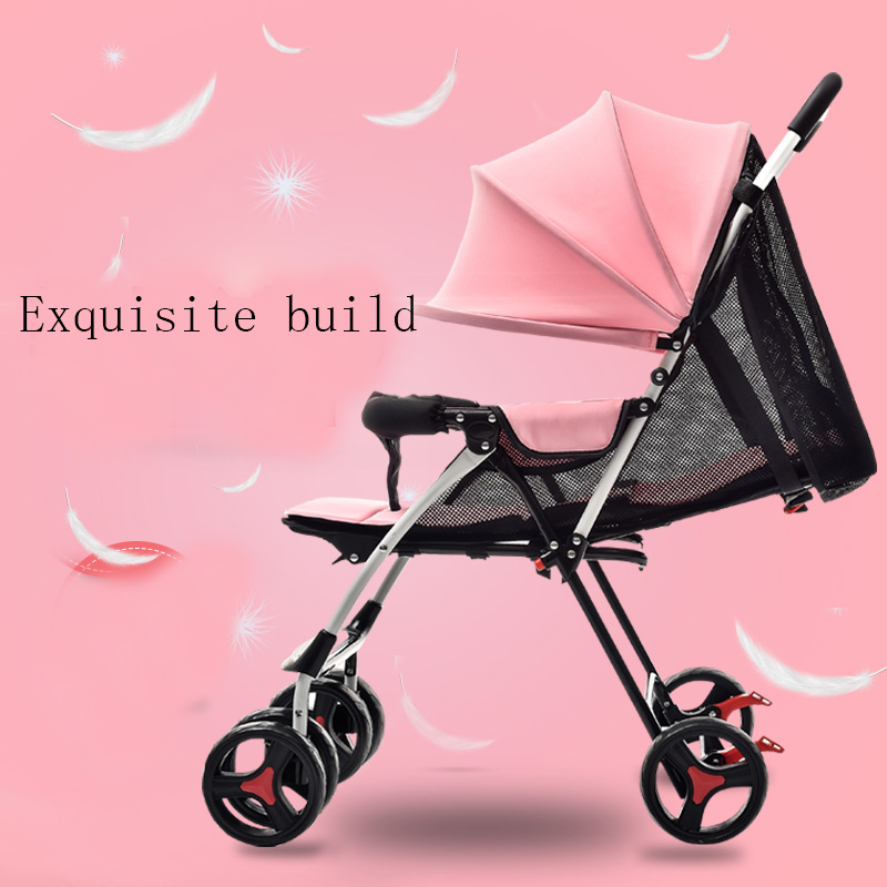 Baby stroller child ultra-light portable easy folding small baby car baby bb four-wheel car umbrella baby stroller ultra light portable shock absorbers bb child summer baby hadnd car umbrella