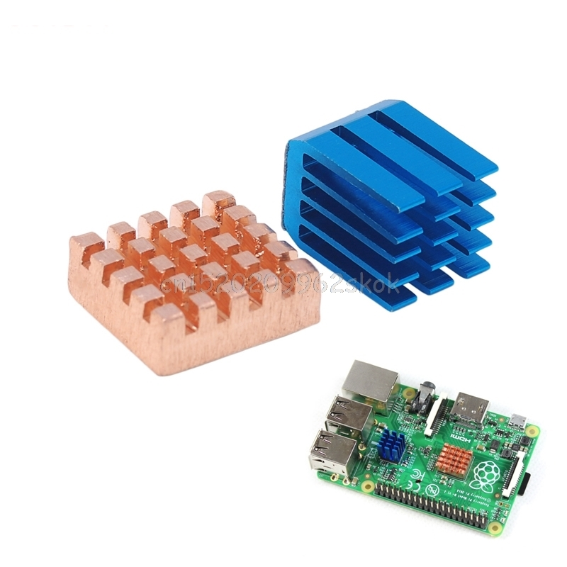 2Pcs Aluminum and Copper Heat Sink CPU Cooling Heat Sink For Raspberry Pi 2/3 #H029# jeyi cooling warship copper m 2 heatsink nvme heat sink ngff m 2 2280 aluminum sheet thermal conductivity silicon wafer cooling
