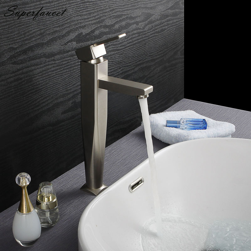Superfaucet Bathroom Basin Faucet Brushed Nickel,Basin Sink Faucet,One Hole Sink Mixer Tap, Hot Cold Water Faucet HG-4836 superfaucet led faucet faucet bathroom sink faucet waterfall faucet bathroom tap water tap bathroom hg 1205da