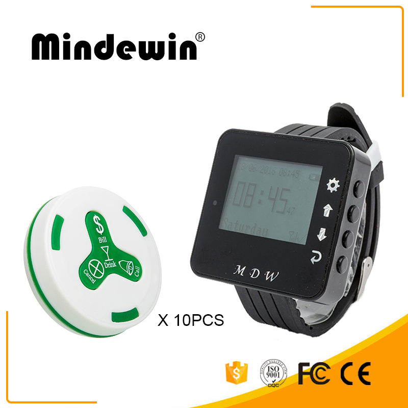 Mindewin Wireless Restaurant Paging System 10PCS Waiter Call Button M-K-4 and 1PCS Receiver Wrist Watch Pager M-W-1 Service Bell restaurant wireless table bell system ce passed restaurant made in china good supplier 433 92mhz 2 display 45 call button