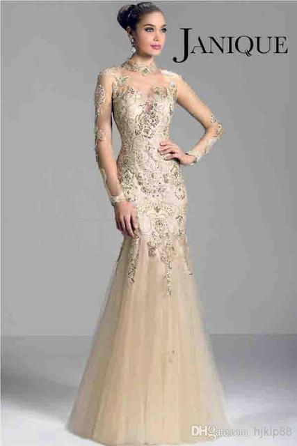 075c12c964a champagne 2017 long sleeve Mother of the Bride Dresses sheer high neck lace  applique beads mermaid