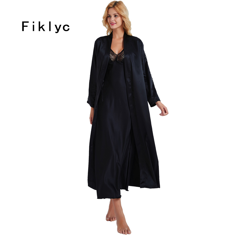 Fiklyc Brand Sexy Women's Long Design Nightdress + Bathrobes Two Pieces Robe & Gown Sets Luxury Ankle Length Nightwear Sets HOT