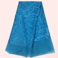 Wonderful party dress lace sky blue embroidery French lace fabric for dress African net lace material with stones EN5-4