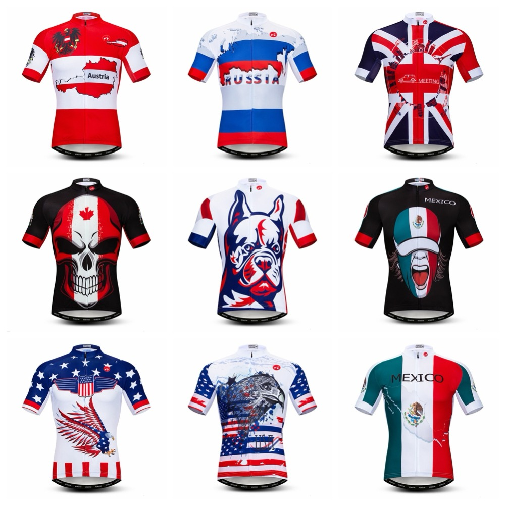 2019 Cycling Jersey men Bike Jerses  road MTB bicycle Clothing Short Sleeve sportswear maillot Racing top skull Russia France