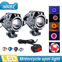 2pcs Motorcycle LED Headlight Fog Light with 1pc switch as gift for U7 125W 3000LM Devil Angel Eye DRL Moto Spot light 2pcs pair sunkia with switch waterproof cree chip u7 led motorcycle headlight fog light spot light lamp 4 colors angle eye light
