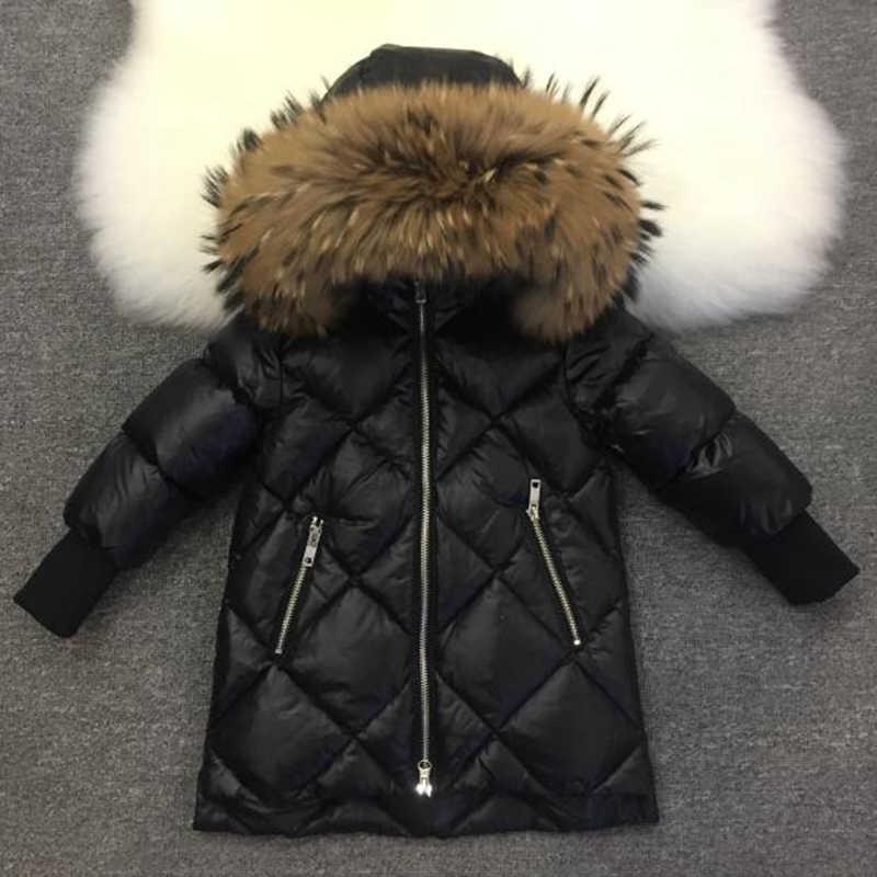 子供冬ビッグキツネの毛皮服ジャケットコート女の子少年母ダウン服パーカーロングコートロシア冬の雪の摩耗パーカー