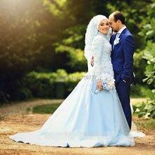 Light Sky Blue Muslim Evening Dress Long Sleeve Modest Hijab Evening Dresses Feathers Evening Gown Arabic Kaftan On Sale