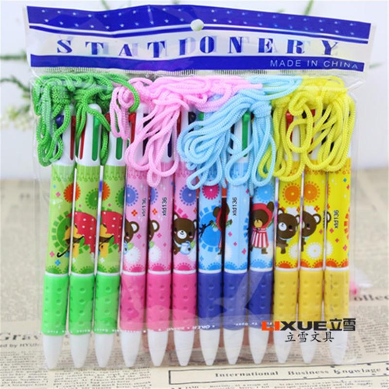 Cheap 0.7mm Refills Kawaii Ballpoint Pens Korea Stationery 4 Color Cute Pen Caneta Papelaria Office School Supplies For Sale 03