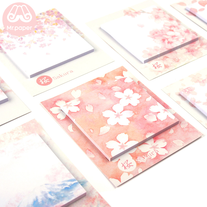 Mr Paper 30pcs/lot 8 Designs Sakura Cherry Blossom Memo Pads Sticky Notes Notepad Diary Creative Self-Stick Notes Memo Pads