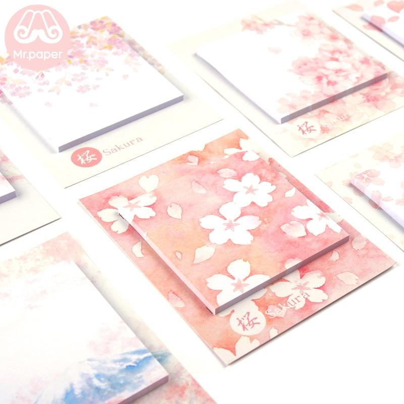 Mr Paper 30pcs/lot 8 Designs Sakura Cherry Blossom Memo Pads Sticky Notes Notepad Diary Creative Self-Stick Notes Memo Pads
