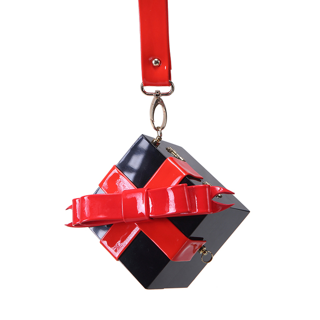 Fashion Small Bow Women Handbag Cute Mini Evening Purse For Women Personality Gift Box Purse Chains Ladies Messenger Bag