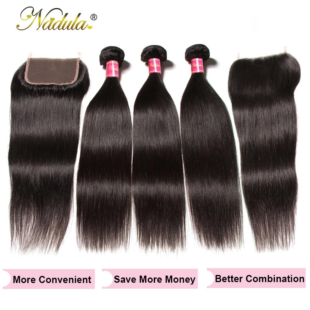 Nadula Hair 3 Bundles With 2Pcs Closures  Straight Hair Bundles With Closure 100%  Bundles With Closure 4