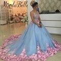Принцесса Золушка Синий Свадебные Платья С Цветами Пышное Бальное платье Розовый Невесты Vestidos Де Noiva Де Luxo 2016