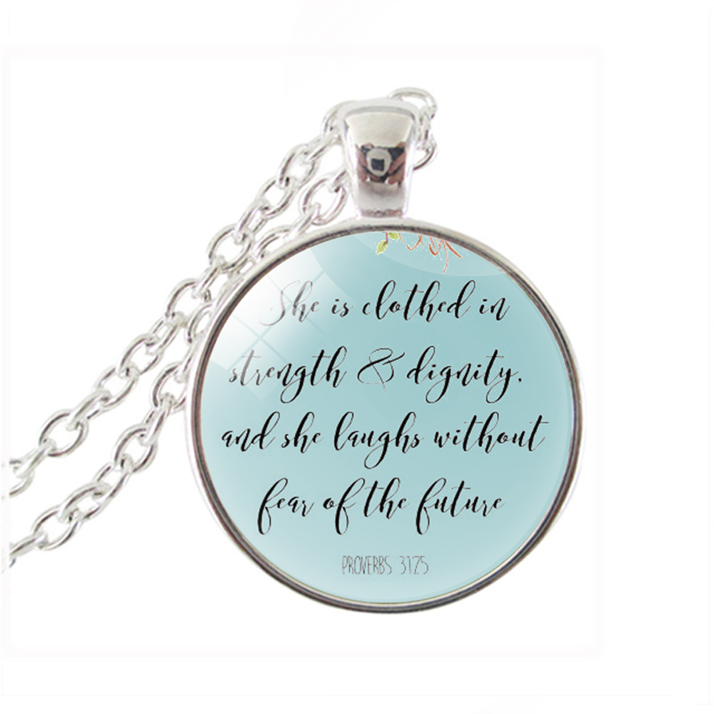 She Is Clothed With Strength And Dignity Bracelet: Bible Verse Necklace Proverbs 31:25, She Is Clothed In