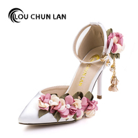 Adults Sandals Wedding Shoes Pink Silks Satins Bridal Shoes Pointed Toe Ultra High Heels Lace Flower