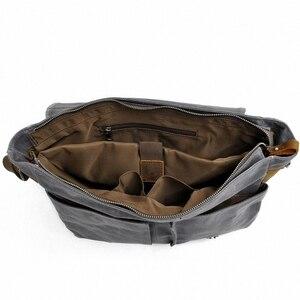 Image 5 - 2020 جديد الرجال حقيبة ساع مقاوم للماء قماش الرجال Vintage حقائب السفر حقائب كتف 14 بوصة حقيبة كمبيوتر محمول LI 1488