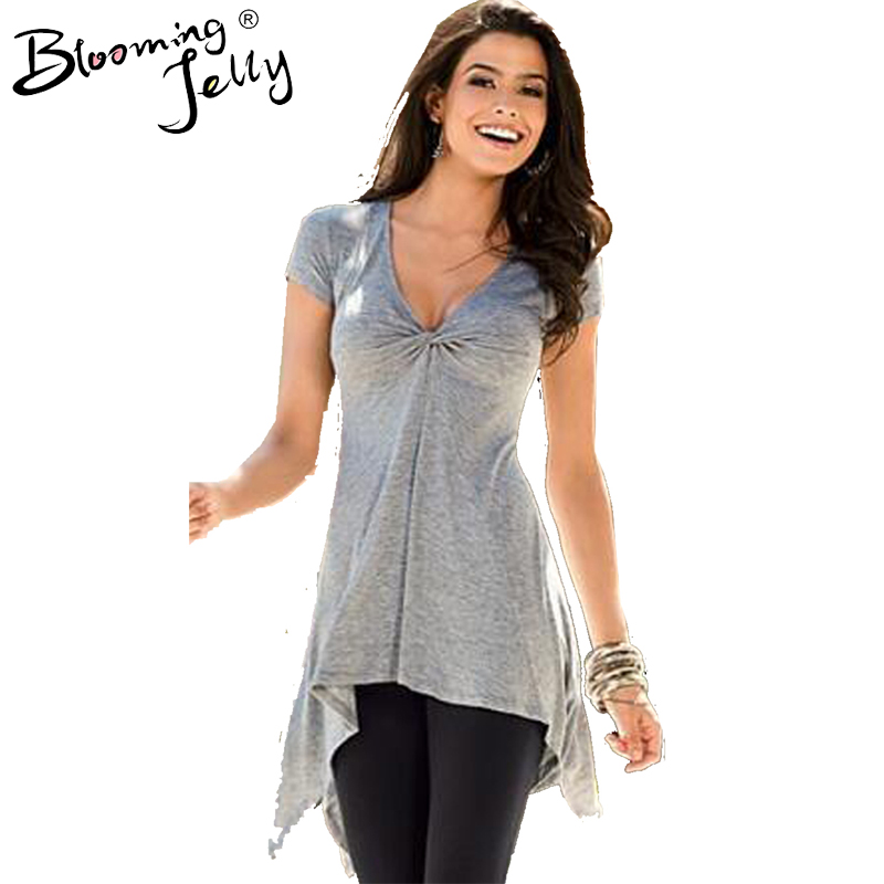 Blooming Jelly Front Ruched Gray Irregular Hem Long Top Twist Front V Neck Blouse WomenS Clothes Women Tops And Blouses