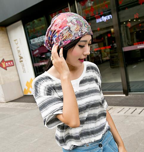 622f02a9457 Wholesale 20pcs NEW Beautiful Summer Slouchy Beanie Hat Womens Cotton Baggy  Skull Caps Ladies Floral Oversized Beanies Hats Bulk