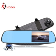 "HGDO Car DVR  4.3"" Rearview Mirror Camera Recorder Dual Lens recorder video Registrator Full HD1080P Night vision auto Dash Cam"