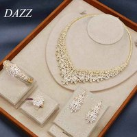 Dazz Luxury Flower Necklace Earrings Ring Bangle 4pcs Nigerian Wedding Jewelry Sets African Bride Women Engagement Ornament 2019