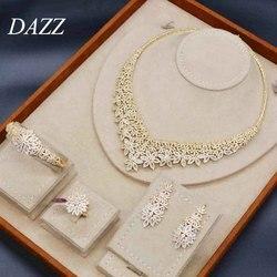 Dazz Luxus Blume Halskette Ohrringe Ring Armreif 4 stücke Nigerian Hochzeit Schmuck Sets Afrikanischen Braut Frauen Engagement Ornament 2019