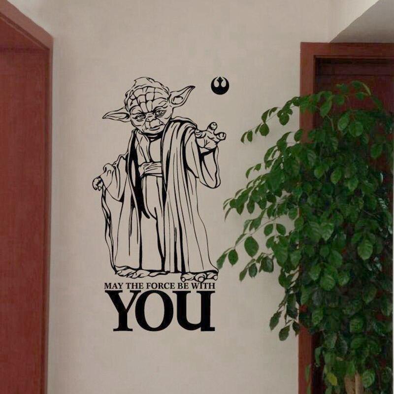 Star Wars Yoda Stickers Muraux-QUE LA FORCE SOIT AVEC VOUS Star Wars Citation Decal WALL STICKER Art Décor
